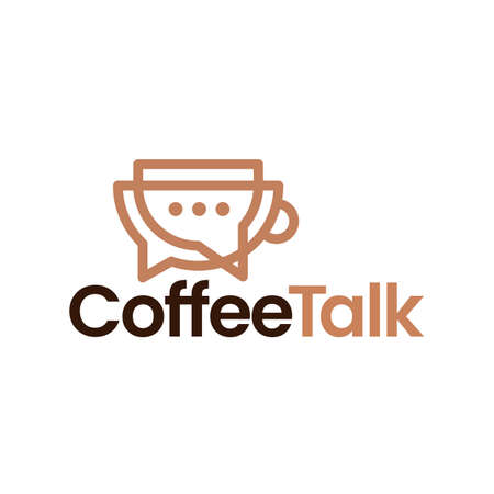 coffee talk chat bubble outline vector icon illustration