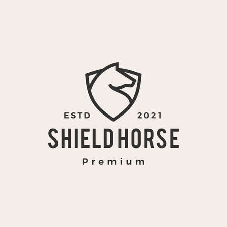 horse shield hipster vintage vector icon illustration