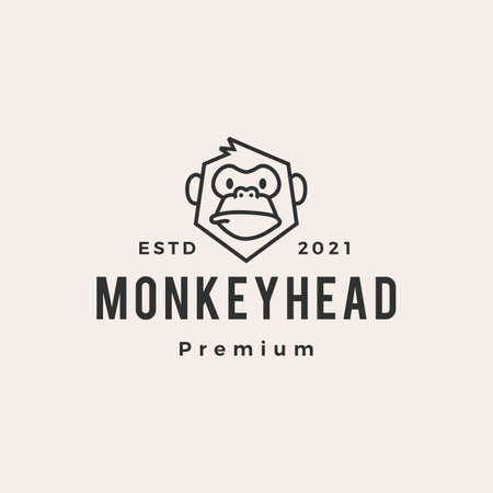 monkey head hipster vintage vector icon illustration