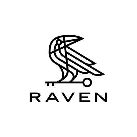 raven crow key black bird monoline line vector icon illustration Vectores