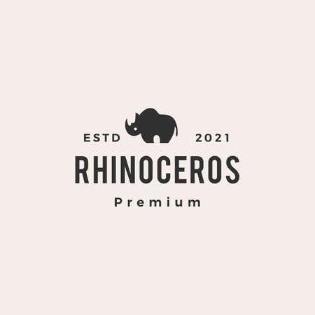 rhinoceros hipster vintage logo vector icon illustration Logo