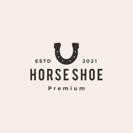 horse shoe u letter hipster vintage logo vector icon illustration Vectores