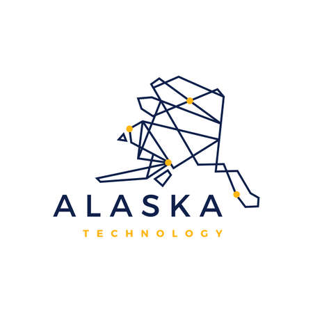 alaska technology connection geometric low poly logo vector icon illustration