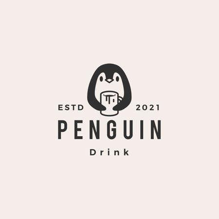 penguin drink mug cup hipster vintage logo vector icon illustration