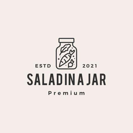salad in a jar hipster vintage logo vector icon illustration