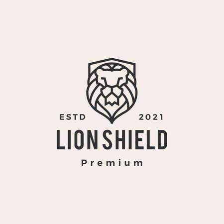 lion shield hipster vintage logo vector icon illustration Vectores