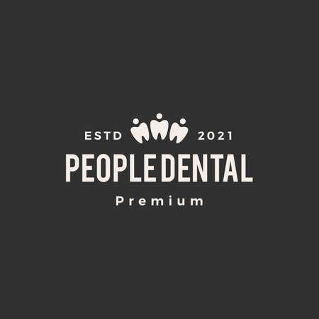 people dental hipster vintage logo vector icon illustration