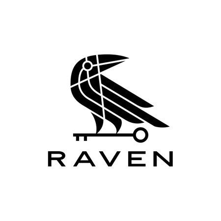 raven crow key black bird logo vector icon illustration