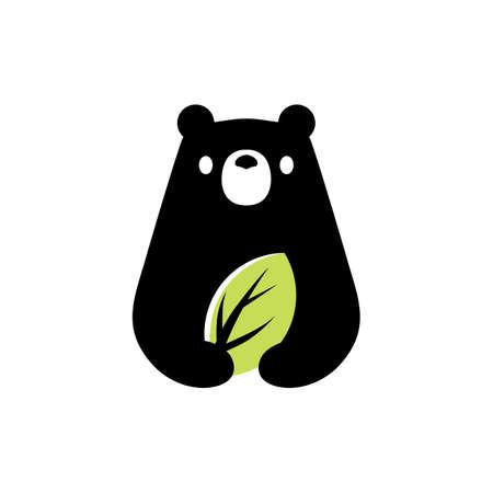 bear leaf natural negative space logo vector icon illustration Vectores