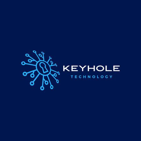 key hole security technology digital perspective logo vector icon illustration