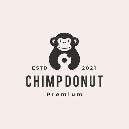 chimp monkey donuts hipster vintage logo vector icon illustration
