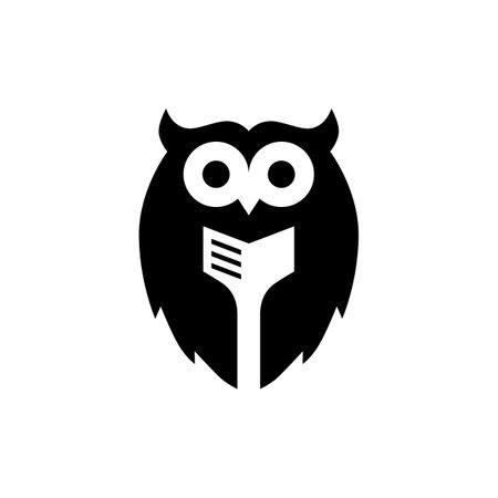 owl book negative space logo vector icon illustration Vectores