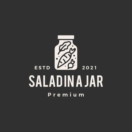 salad in a jar hipster vintage logo vector icon illustration