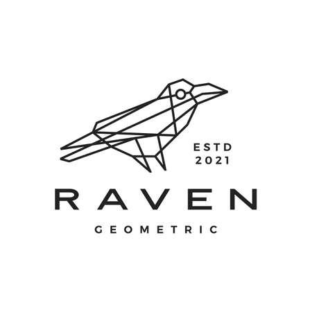 raven crow geometric polygonal logo vector icon illustration