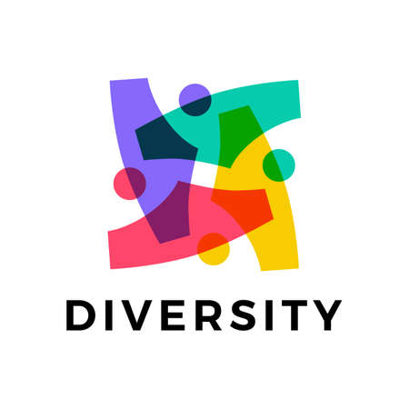 diversity people team family colorful logo vector icon illustration 向量圖像