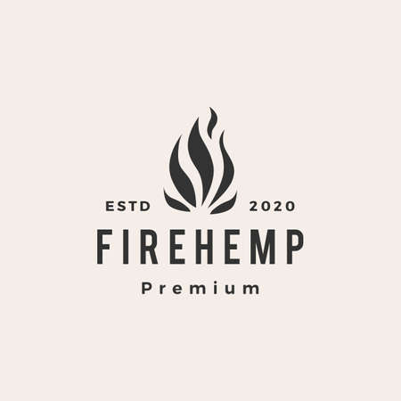 fire cannabis hemp flame hipster vintage logo vector icon illustration 向量圖像