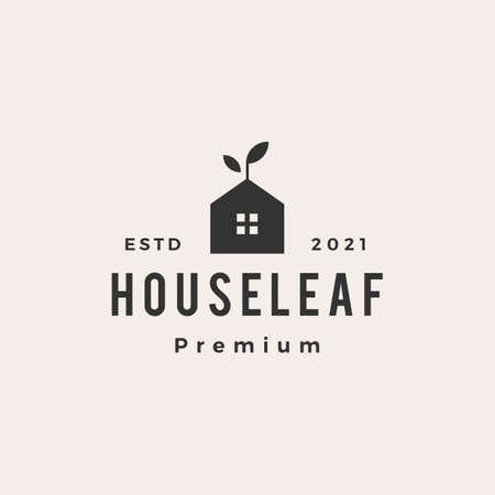 house leaf sprout hipster vintage logo vector icon illustration 版權商用圖片 - 166761929