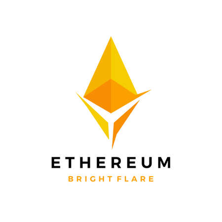 ethereum bright cryptocurrency blockchain crypto logo vector icon illustration 向量圖像