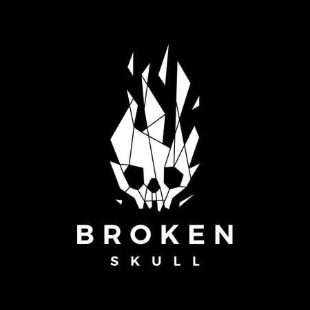 broken skull tech glass geometric polygonal logo vector icon illustration Ilustrace