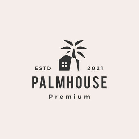 palm tree house hipster vintage logo vector icon illustration