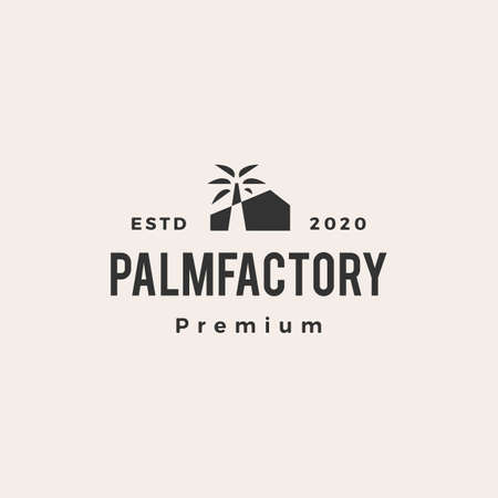 palm tree factory hipster vintage logo vector icon illustration 向量圖像