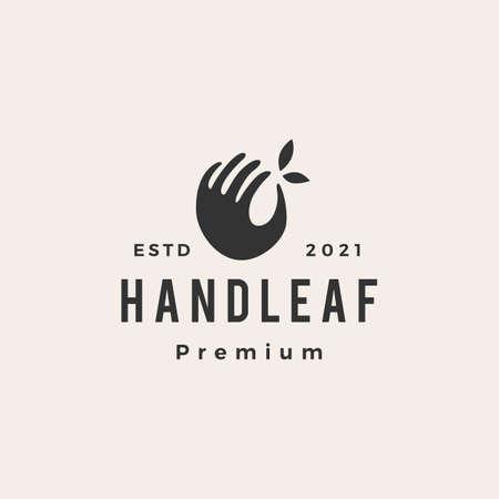 hand leaf hipster vintage logo vector icon illustration