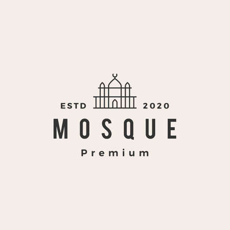 mosque hipster vintage logo vector icon illustration