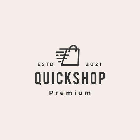 quick shop fast dash hipster vintage logo vector icon illustration Ilustrace