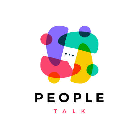 people family together human unity chat bubble logo vector icon illustration