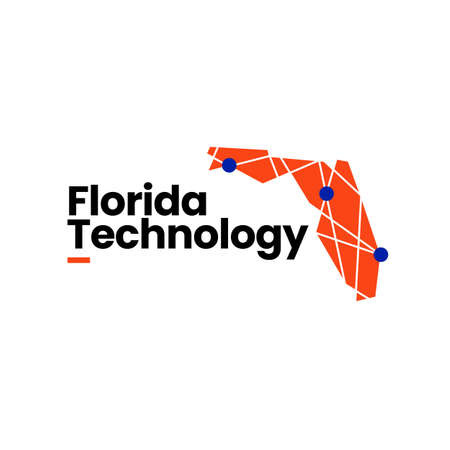 florida technology connection map geometric polygonal logo vector icon illustration