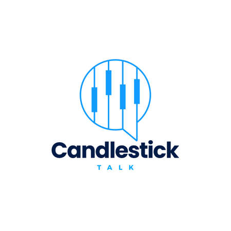 candlestick bar finance financial talk chat bubble logo vector icon illustration