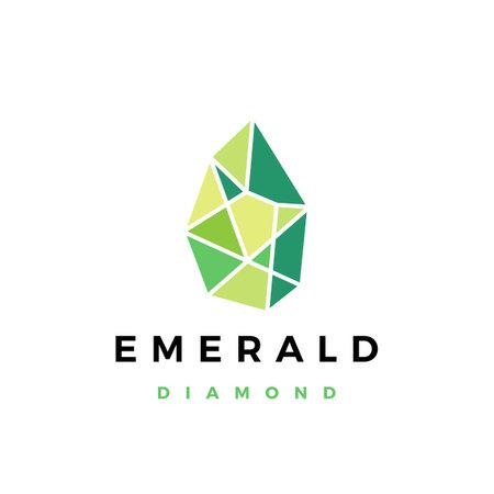 emerald diamond gem stone logo vector icon illustration Logo