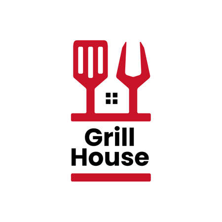 grill house fork spatula logo vector icon illustration
