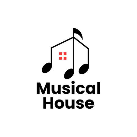 music house home course training logo vector icon illustration 向量圖像