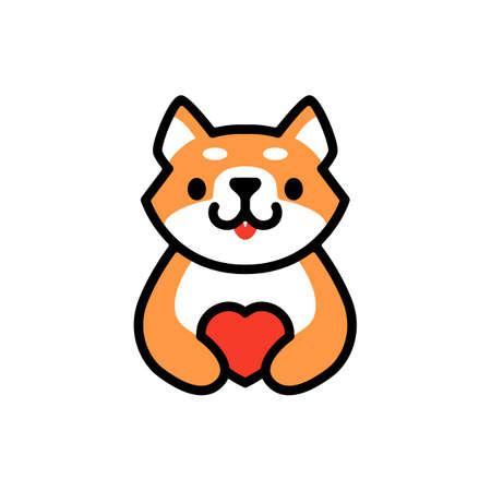 cute shiba inu love heart dog cartoon logo vector icon illustration Ilustrace