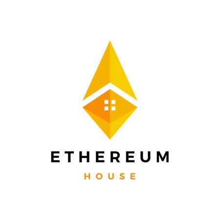 ethereum house home logo vector icon illustration