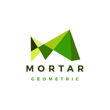 m letter abstract geometric polygonal mark logo vector icon illustration