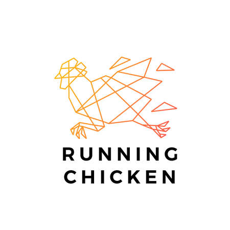 running chicken rooster geometric polygonal logo vector icon illustration