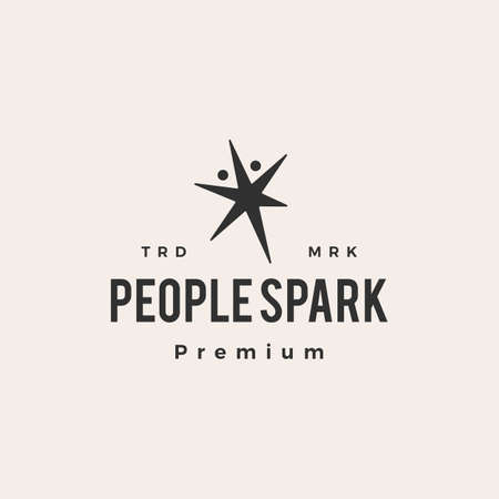 people stark light hipster vintage logo vector icon illustration