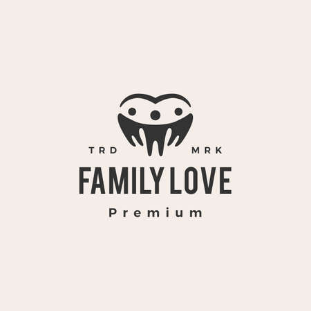 family love hipster vintage logo vector icon illustration