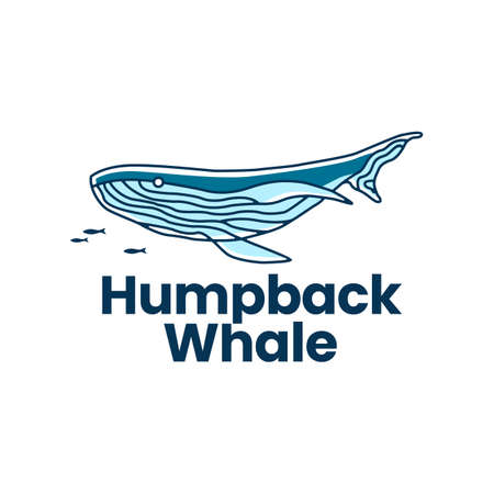 humpback whale logo vector icon illustration