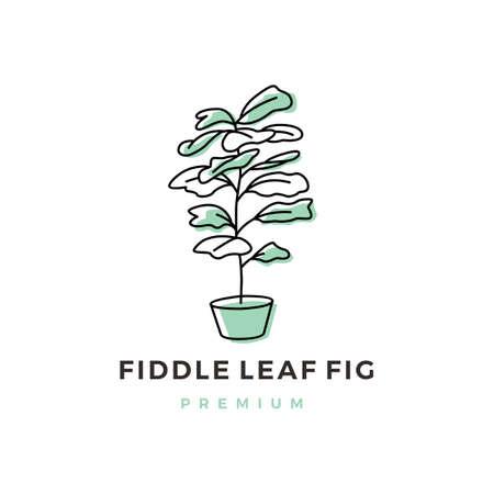fiddle leaf fig logo vector icon illustration 版權商用圖片 - 166761781