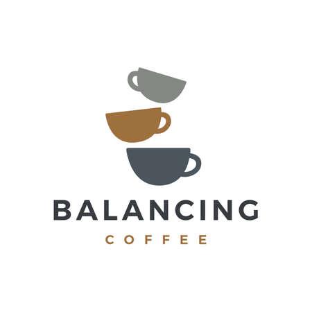 zen coffee balancing stone logo vector icon illustration Ilustrace