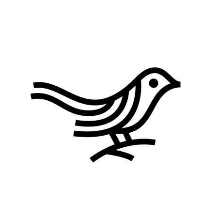 bird monoline outline logo vector icon illustration