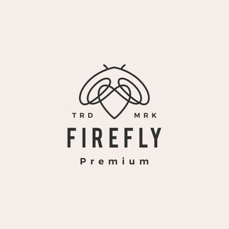 firefly love hipster vintage logo vector icon illustration