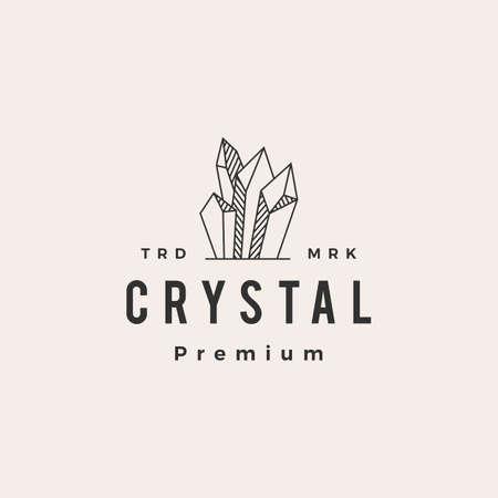 crystal gem stone hipster vintage logo vector icon illustration 版權商用圖片 - 166761791
