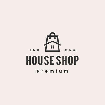 house shop shopping bag hipster vintage logo vector icon illustration