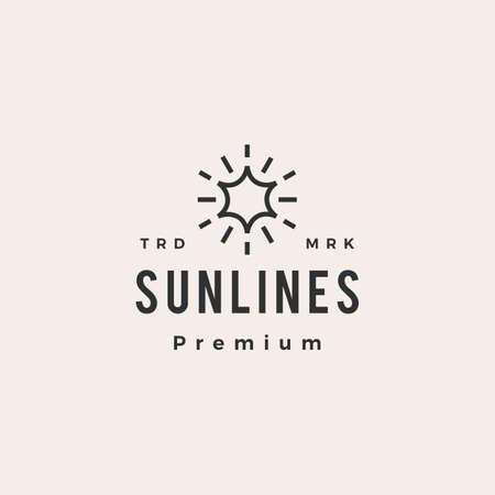 sun line hipster vintage logo vector icon illustration