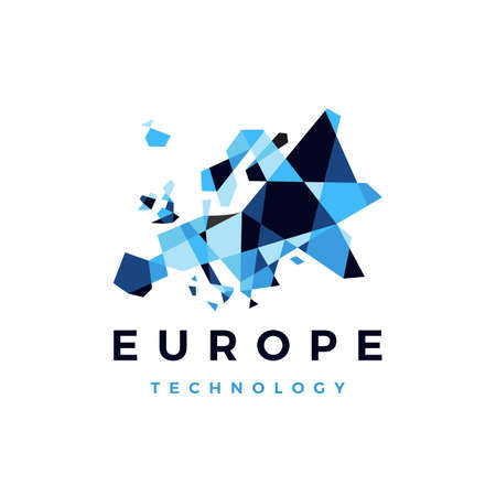 europe technology connection geometric polygonal logo vector icon illustration