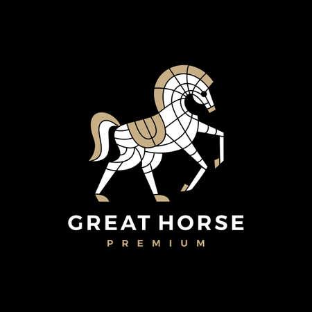ornamental horse logo vector icon illustration